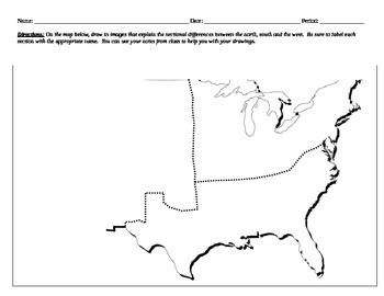 Sectionalism Map Activity and Reading