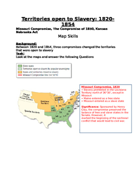 Sectionalism: Missouri Comp., The Compromise of 1850, Kansas Nebraska Act