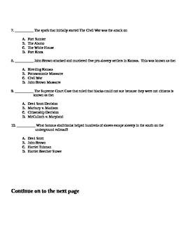 Sectionalism Quiz/ Assessment