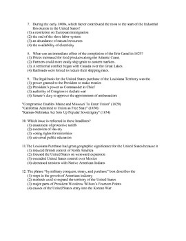 US History Regents Exam on Sectionalism and Civil War