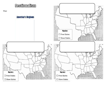 sectionalism and compromises powerpoint graphic organizer map tpt. Black Bedroom Furniture Sets. Home Design Ideas