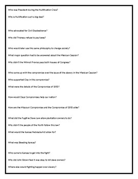 Sectionalism and the Civil War Worksheet