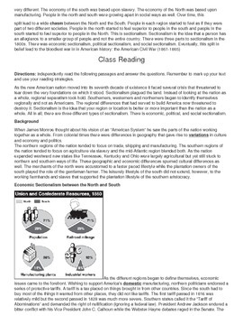 Sectionalism in the US, reading, graphic organizer, activities