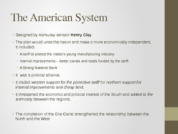 Sectionalism of North, South, West; Clay's American System. SC Standard 2.3