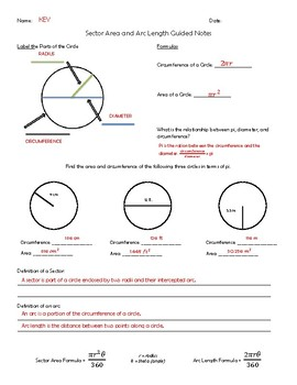 Sector Area and Arc Length Guided Notes and Activities