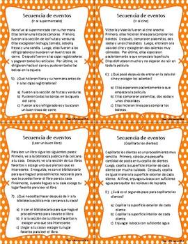 Secuencia - Secuencia de eventos - Sequence of events task cards - Spanish