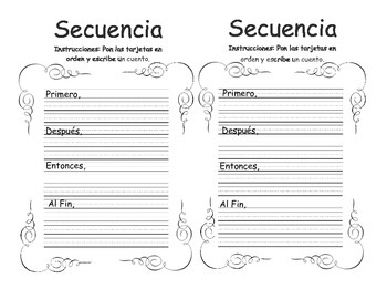 Secuencia- Sequence of events SPANISH Graphic organizer (2 per page)