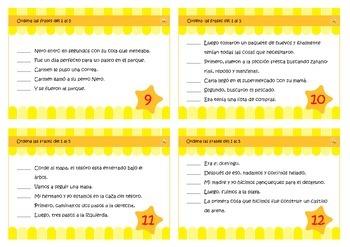 Secuenciación, tarjeta de tarea. Spanish Sequencing task cards.