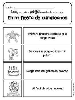 Spanish Secuencias/ Lectura y escritura - Sequencing Reading and writing