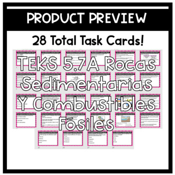 Combustibles Fosiles Roca Sedimentaria Task Cards