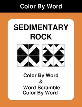 Sedimentary - Color By Word & Color By Word Scramble Worksheets