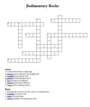 Sedimentary Rock Crossword Puzzle