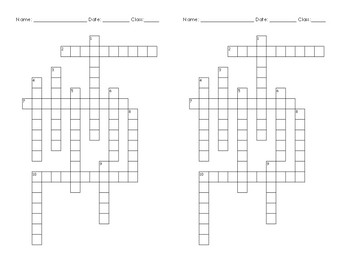 Sedimentary Rock Crossword Puzzle with fill in the blank clues