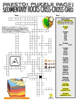 Sedimentary Rock Puzzle Page (Wordsearch and Criss-Cross)