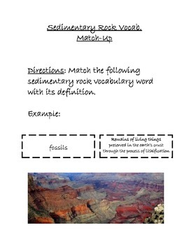 Sedimentary Rock Vocabulary Match-Up Activity