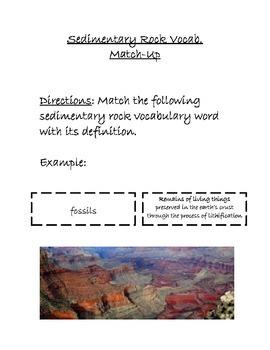 Sedimentary Rock Vocabulary Match-Up Activity