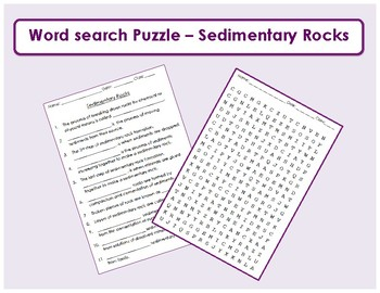 Sedimentary Rock Word search with fill in the blank clues