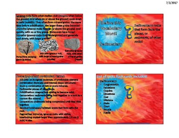 Sedimentary Rocks Flash Cards
