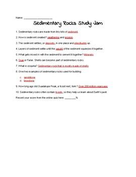 Sedimentary Rocks Study Jams Worksheet