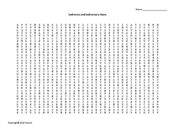 Sediments and Sedimentary Rocks Vocabulary Word Search for Geology Students