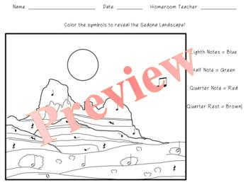 Sedona Rocks Color by Rhythm Theory Worksheet