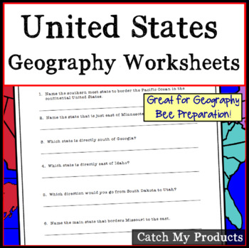 Research Questions About Geographical Locations in the USA -Map Skills