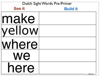 See It, Build It Sight Words Pre-Primer