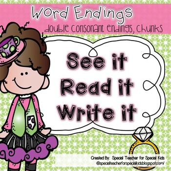 See It, Read It, Write It-- Ending Sounds {Word Work Cente
