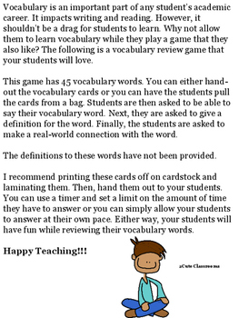 See It...Say It...Define It...Vocabulary Game for Middle School Students