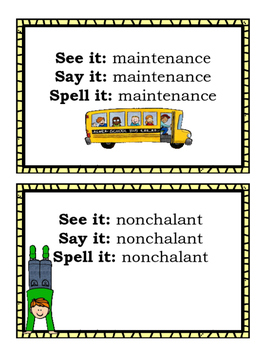 See It...Say It...Spell It Set 2 for Middle School Students