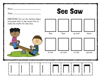 See Saw - A Worksheet for (ta-titi)