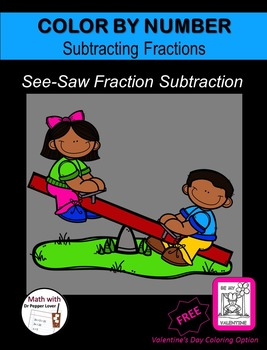 Color by Number Fraction Pages: See-Saw Fraction Subtraction