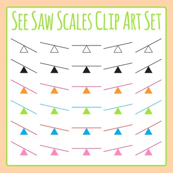 See Saw Weight Scales Clip Art Set for Commercial Use