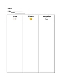 See Think Wonder Graphic Organizer