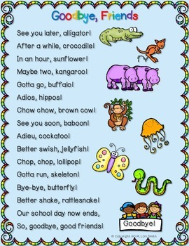 Nifty image throughout see you later alligator poem printable