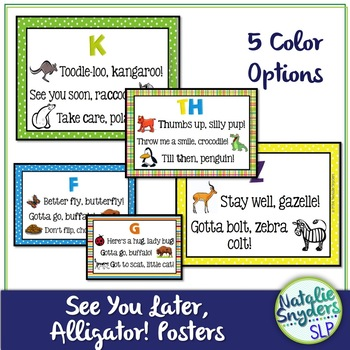 """""""See You Later, Alligator!"""" Articulation Posters for Speech Therapy"""
