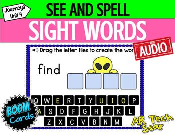 See and Spell Sight Words Boom Cards w/ AUDIO (Journeys Unit 4 Supplement)