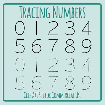 See and Trace Numbers Clip Art Set Commercial Use