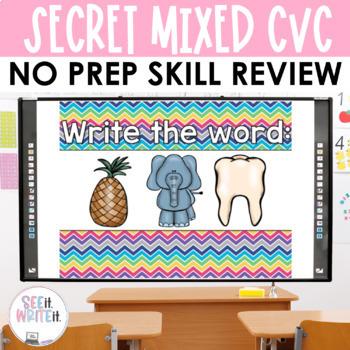 Secret Words - Mixed Short Vowel CVC Word Work Interactive Powerpoint