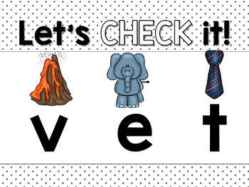 Short E CVC Word Work Interactive Powerpoint: Secret See it. Write it.