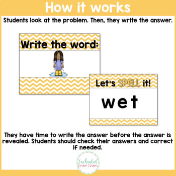 Short E Word Work Interactive PowerPoint: See it Write it