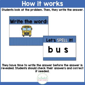 Short U Word Work Interactive PowerPoint: See it Write it
