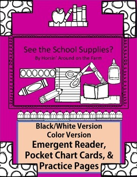 See the School Supplies - Emergent Reader, Pocket Chart Cards and Practice Page