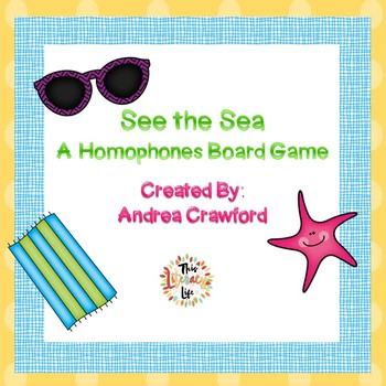 Homophones Board Game:  Summer Themed