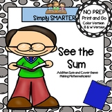 See the Sum:  NO PREP Spin and Cover Double Digit Addition Game