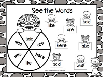 See the Words:  NO PREP Sight Word Spin and Cover Game