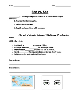 See vs. Sea Worksheet