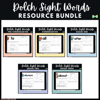 Seesaw Activities - Dolch Sight Words Bundle - Digital Practice Pages