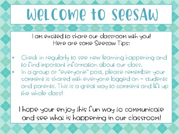 SeeSaw App Welcome Note