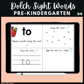 SeeSaw Pre-K Dolch Sight Words - Digital Pages - SeeSaw Activities